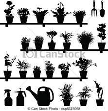plante fleur silhouette pot usines ensemble vecteur