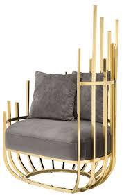 casa padrino designer sessel rechtsseitig mit 2 kissen grau gold 91 5 x 75 x h 136 5 cm designer wohnzimmer möbel luxus qualität