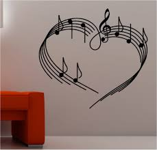 Home DecorationFantastic Illustrated Musical Notes On Sheet Music Design With Excellent White Painted Wall