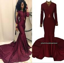 burgundy prom dresses 2017 real image formal long sleeve evening
