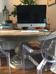 Pedestal Table That Doubles As A Desk Recognize The Round It Used To Be Our Dining Room And I Switch Vintage Wood Rectangle