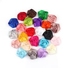 Satin Ribbon Handmade Rose Flowers For Decoration