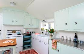 Kitchen Retro Blue And White Cabinets Wooden Countertops Pendant Lights Oven Stove Stainless Steel Knob Carpets