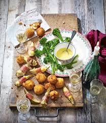 easy cheap canapes pear camembert and prosciutto wraps delicious magazine