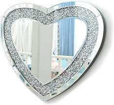 richtop wandspiegel groß herzförmig rahmenlos design schwarz holz backing silber wand schminkspiegel mit glitzer diamanten makeup spiegel