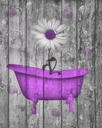 Purple Daisy Flower Bubbles Rustic Home Decor Bathroom Wall Art Picture