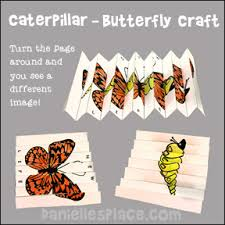 Caterpillar Changing To Butterfly Folded Paper Craft