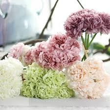 5 Heads Bunch Silk Artificial Flowers Hydrangeas Bridesmaid Bridal Bouquet Latex Flower For Party Wedding Decoration In Dried