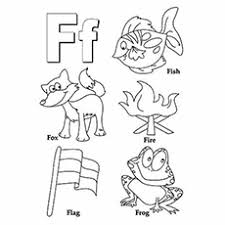 Letter F For Frog Fox Fish Coloring Pages