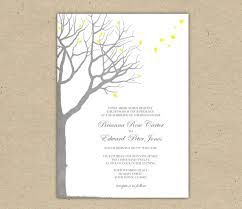 Wedding Invitation Template Oak Tree Yellow And Grey Printable Forest