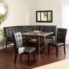 6 Kitchen Black Dining Set Leather Wood Corner Breakfast Nook Table Bench Chair