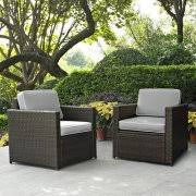 Crosley Furniture KO BR GY Palm Harbor 2 Piece Resin Wicker Outdoor Chair Set