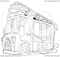 100 Fire Truck Games Free Lineart Clipart Of A Cartoon Black And White With Ladder