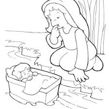 Moses Baby Was Safe In His Basket Boat Coloring Page