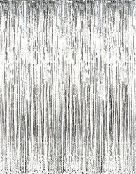 amazon com metallic silver foil fringe curtains 1 pc 36 x 96