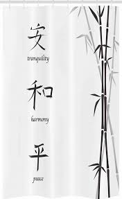 abakuhaus duschvorhang badezimmer deko set aus stoff mit haken breite 120 cm höhe 180 cm schwarz weiss friedens bambus kaufen otto