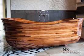 Teak Wood Bathtub Caddy by Furniture Endearing Varnished Freestanding Wood Bathtub Idea With