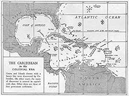 WEST INDIES 1600 1660 Caribbean Colonial Era Sketch Map