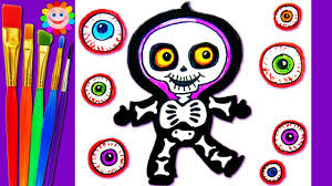 Scary Halloween Coloring Pages Online by How To Draw A Skeleton Scary Halloween Coloring Page For Kids