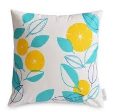 Image Is Loading WATERPROOF OUTDOOR Cushion Cover Modern Floral Yellow Aqua