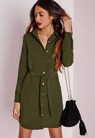 utility shirt dress khaki missguided