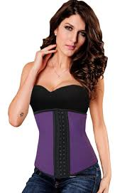 plus size purple 9 steel bones latex under bust corset