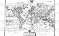 High Resolution World Map Black And White Antique Mercator Projection Cartography Vintage Clip Art