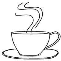 Photo Coffee Cup Steaming Black Outline