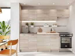 mirjan24 küche mela 240 küchenzeile mit arbeitsplatte 7 schrank module kombinierbar küche set küchenmöbel sonoma eiche beige