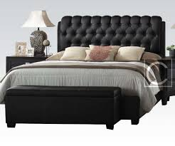 King Platform Bed With Leather Headboard by Bedroom Cool Black Faux Leather Tufted Queen King Platform Bed