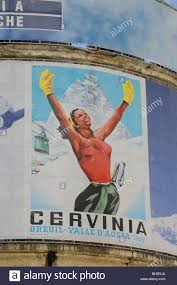 1930s Style Posters Advertising Skiing And Winter Sports In The Village Of Breuil Cervinia Italy