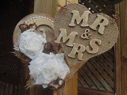 Wedding Cake Topper Rustic Burlap And Lace Vintage Inspired