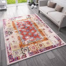 teppich vintage look designer kurzflor teppich läufer bunt vimoda homestyle