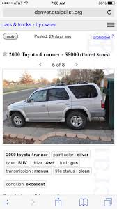 5 Speed Low Mileage Find - Toyota 4Runner Forum - Largest 4Runner Forum Used Cars Denver Affordable The Sharpest Rides And Trucks In Co Family 1978 Dodge Lil Red Express Truck Gateway Classic 823 Houston Craigslist Blues How To Stop Over Posters Ar15com And Best Image Kusaboshicom Weisco Motorcars Ltd 50 Ram Pickup 1500 For Sale Savings From 2419 Awesome Runaway Rampdef Auto Def By Dealer Signup Filename Hello Marathi For 5500 This Kei Could Take Your Baby Away