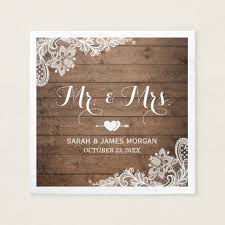 Rustic Barn Wood Lace Mr And Mrs Wedding Napkin