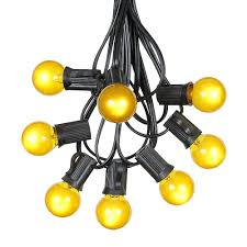100 yellow g30 globe outdoor string light set on black wire