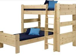 Ikea Twin Over Full Bunk Bed by Bunk Beds L Shaped Bunk Bed Plans With Natural Brown Solid Wood