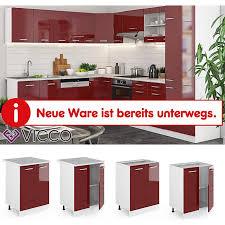 vicco unterschrank 60 cm küchenschrank küchenzeile küchenunterschrank r line ohne arbeitsplatte rot hochglanz