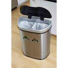 Small Rectangular Bathroom Trash Can by Nine Stars 18 5 Gallon Motion Sensor Recycle Unit And Trash Can