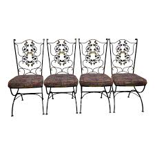100 Black Wrought Iron Chairs Outdoor Vintage Woodard Gold Scrolling Leaf Patio