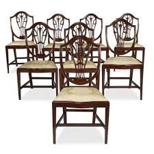 A Set Of Eight Hepplewhite Style Dining Chairs, Circa 1890 4 Hepplewhite Style Mahogany Yellow Floral Upholstered Ding Chairs Style Ding Table And Chairs Pair George Iii Mahogany Armchairs Antique Set Of 8 English Georgian 12 19th Century Elegant Mellow Edwardian Design Antiques World 79 Off Wood Hogan Side Chair Eight Late 18th Of