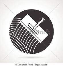 Tile Trowel Black Round Vector Icon