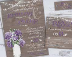 Rustic Wedding Invitation Printable Set Purple Lavender Country Invite Babys Breath Mason Jar Chic Suite