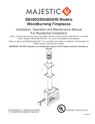 SB4800 SB4800HB Models Woodburning Fireplaces
