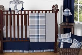Navy Blue and Grey Plaid Boys Baby Bedding 11pc Crib Set by