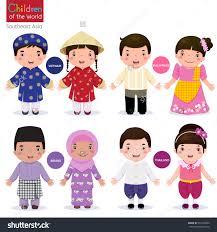 Kids In Traditional Costume Vietnam Philippines Brunei And Thailand