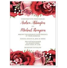 Rustic Red Pink Rose Green White Wedding Invitations At