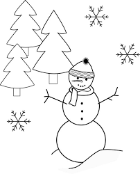 Winter Mr Snowman Snowflake and Pine Trees Coloring Page Mr Snowman Snowflake And Pine