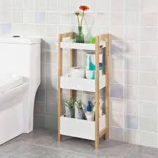 sobuy badregal standregal küchenregal mit 3 ablagefächern weiß kautschukholz frg226 wn