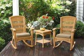 The Portside Plantation All Weather Wicker Rocking Chair Set - Tortuga  Outdoor Resin Wicker Porch Rockers Easy Care Rocker Charleston Rocking Chair Camel Back Chairs Set Of Two White Summer Outdoor Belwood With Floral Cushions 3pc Cushion And End Table Faux Book Pocket Coral Coast With Khaki The Portside Plantation All Weather Tortuga